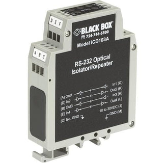 Black Box DIN Rail Repeater with Opto-Isolation, RS-232