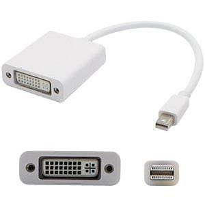 AddOn 5-Pack of 8in Mini-DisplayPort Male to DVI-I Female White Adapter Cables
