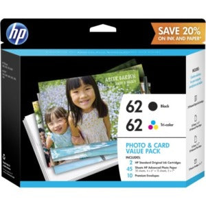HP 62 Ink Cartridge-Paper Kit - Black, Tri-color