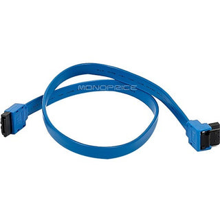 Monoprice 18inch SATA 6Gbps Cable with Locking Latch (90 Degree to 180 Degree) - Blue