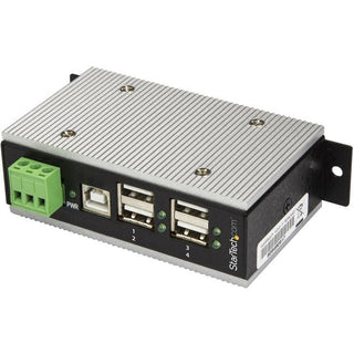 StarTech.com 4 Port Industrial USB Hub - USB 2.0 - 15kV ESD Protection - Surface Mount or DIN Rail Rackmount USB Hub - Metal Housing