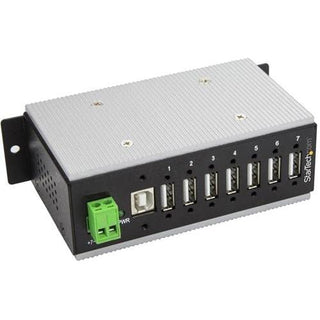 StarTech.com 7 Port Industrial USB Hub - USB 2.0 - 15kV ESD Protection - Surface Mount or DIN Rail Rackmount USB Hub - Metal Housing