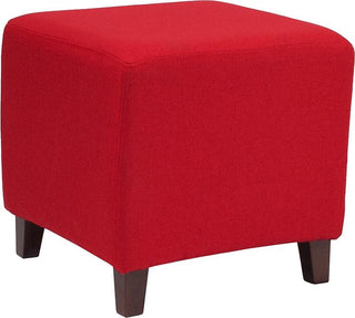 Red Fabric Ottoman Pouf