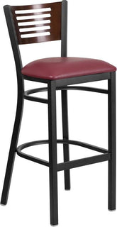 Bk/Wal Slat Stool-Wood Seat