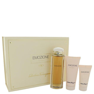 Emozione by Salvatore Ferragamo Gift Set -- 3.1 oz Eau De Parfum Spray + 1.7 oz Body Lotion + 3.4 oz Shower Gel for Women