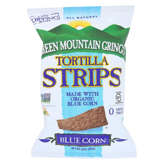 Green Mountain Gringo Tortilla Strips - Blue Corn - Case Of 12 - 8 Oz.