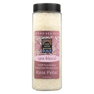 One With Nature Bath Salts - Dead Sea Mineral - Rose Petal - 32 Oz