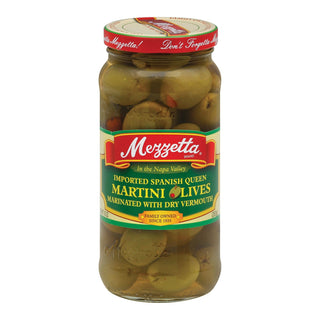 Mezzetta Imported Spanish Queen Martini Olives In Dry Vermouth - Case Of 6 - 10 Oz.