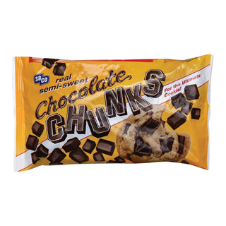Saco Foods Chocolate Chunk - Semi - Sweet - Case Of 12 - 12 Oz.