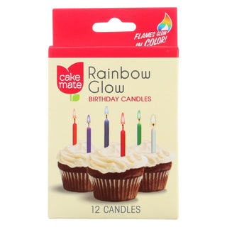 Cake Mate - Birthday Party Candles - Rainbow Glow - 12 Count - Case Of 12