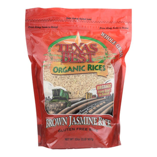 Texas Best Organics Rice - Organic - Jasmine Brown - 32 Oz - Case Of 6