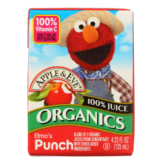 Apple And Eve Organics 100 Percent Juice - Elmo's Punch - Case Of 9 - 125 Ml