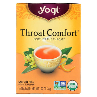 Yogi Organic Throat Comfort Herbal Tea Caffeine Free - 16 Tea Bags - Case Of 6