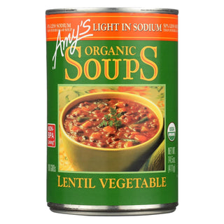 Amy's - Organic Lentil Vegetable Soup - Low Sodium - Case Of 12 - 14.5 Oz