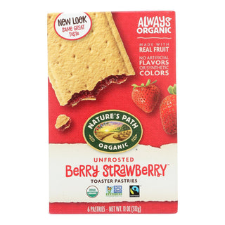 Nature's Path Organic Unfrosted Toaster Pastries - Berry Strawberry - Case Of 12 - 11 Oz.