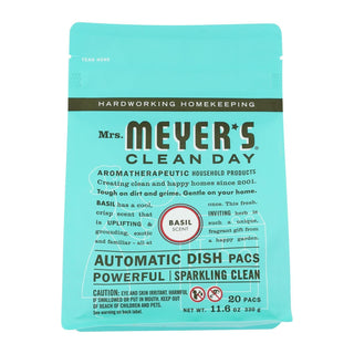 Mrs. Meyer's Clean Day - Automatic Dishwasher Packs - Basil - Case Of 6 - 12.7 Oz