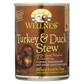 Wellness Pet Products Dog Food - Turkey And Duck With Sweet Potatoes And Cranberries - Case Of 12 - 12.5 Oz.