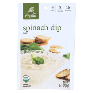 Simply Organic Dip Mix - Organic - Spinach - 1.41 Oz - Case Of 12