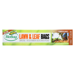 Biobag - 33 Gallon Lawn And Leaf Bags - Case Of 12 - 5 Count