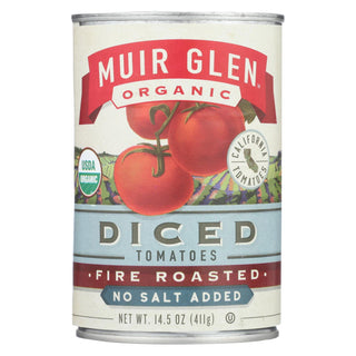 Muir Glen Diced Fire Roasted Tomato No Salt - Tomato - Case Of 12 - 14.5 Oz.
