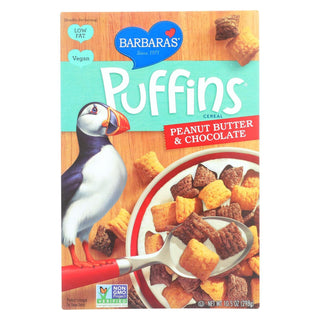 Barbara's Bakery - Puffins Cereal - Peanut Butter And Chocolate - Case Of 12 - 10.5 Oz.