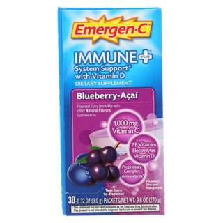 Emergen-c Immune + D System Support Dietary Supplement - Blueberry Acai - 30 Pkt