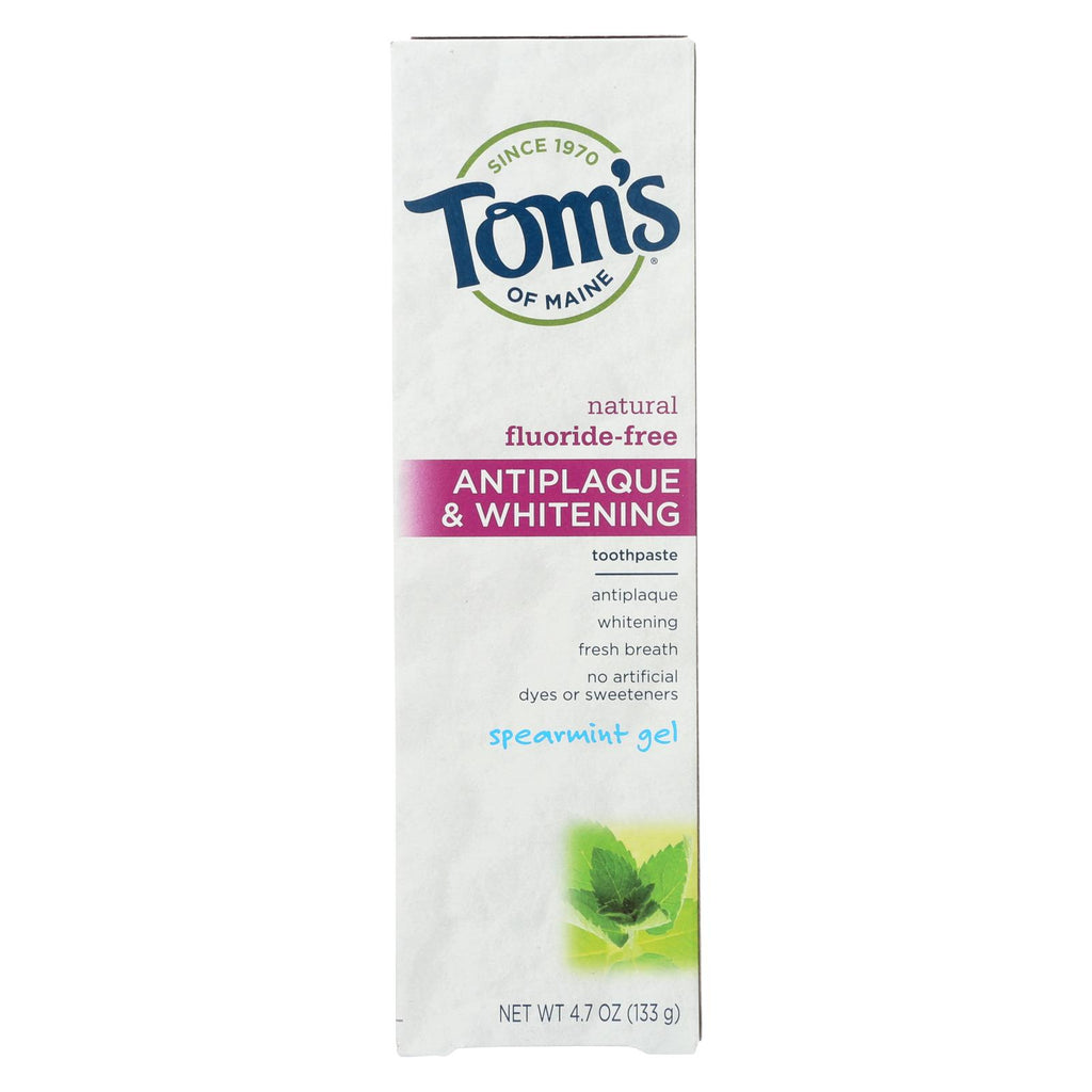 Tom's Of Maine Antiplaque And Whitening Toothpaste Spearmint Gel - 4.7 Oz - Case Of 6