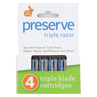 Preserve Triple Blade Refills - Case Of 6 - 4 Packs