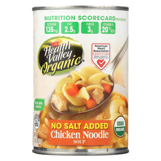 Health Valley Organic Soup - Chicken Noodle No Salt Added - Case Of 12 - 14.5 Oz.
