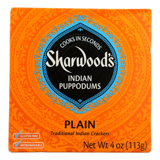 Sharwood Plain Traditional Indian Crackers - Case Of 12 - 4 Oz