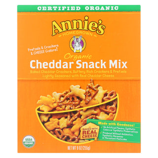 Annie's Homegrown Organic Bunnies Cheddar Snack Mix - Case Of 12 - 9 Oz.
