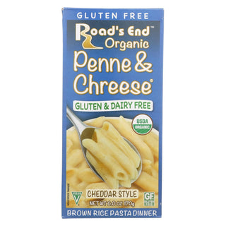 Road's End Organics Penne And Cheese Pasta - Cheddar Style - Case Of 12 - 6 Oz.
