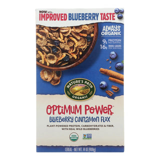 Nature's Path Organic Optimum Power Flax Cereal - Blueberry Cinnamon - Case Of 12 - 14 Oz.