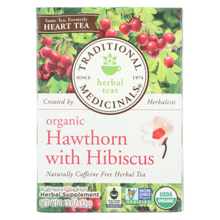 Traditional Medicinals Organic Heart Tea - Hawthorn With Hibiscus - Case Of 6 - 16 Bags