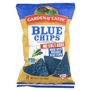 Garden Of Eatin' Blue Corn Tortilla Chips - Unsalted - Case Of 12 - 8.1 Oz.