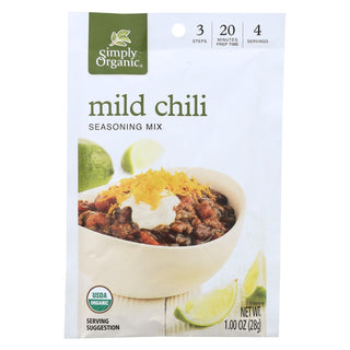Simply Organic Seasoning Mx - Organic - Mild Chili - Case Of 12 - 1 Oz