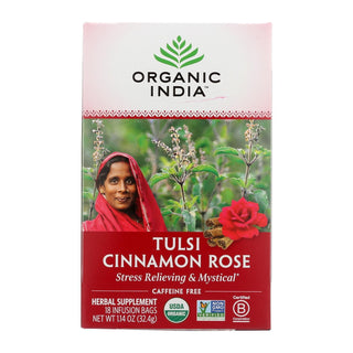 Organic India Tulsi Tea Cinnamon Rose - 18 Tea Bags - Case Of 6
