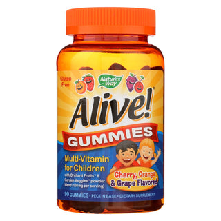 Nature's Way - Alive! Gummies Multi-vitamin For Children - Cherry, Grape And Orange - 90 Gummies