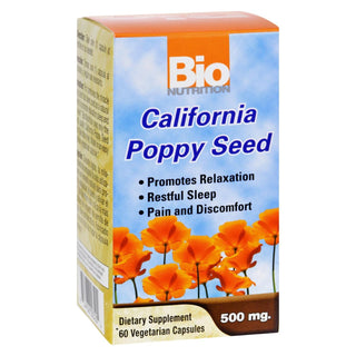 Bio Nutrition - California Poppy Seed - 500 Mg - 60 Vegetarian Capsules