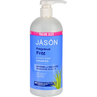 Jason Natural Products Shampoo For Sensitive Scalp - Fragrance Free - 32 Oz