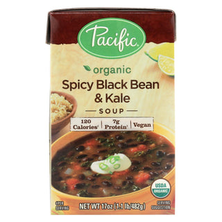 Pacific Natural Foods Black Bean And Kale Soup - Organic Spicy - Case Of 12 - 17 Oz.