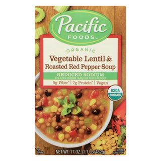 Pacific Natural Foods Soup - Vegetable Lentil And Roasted Red Pepper - Case Of 12 - 17 Oz.
