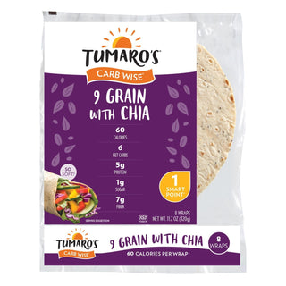 "Tumaro's 8"" Carb Wise Tortilla Wraps - 9 Grain With Chia - Case Of 6 - 8 Count"