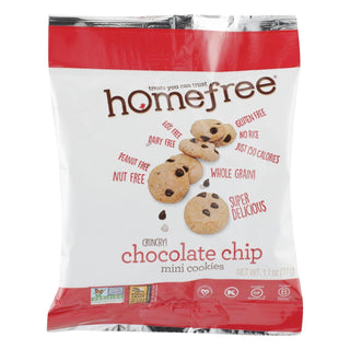 Homefree - Gluten Free Mini Cookies - Chocolate Chip - Case Of 10 - 1.1 Oz.