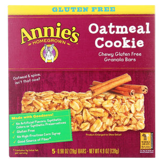 Annie's Homegrown Chewy Gluten Free Granola Bars Oatmeal Cookies - Case Of 12 - 4.9 Oz.