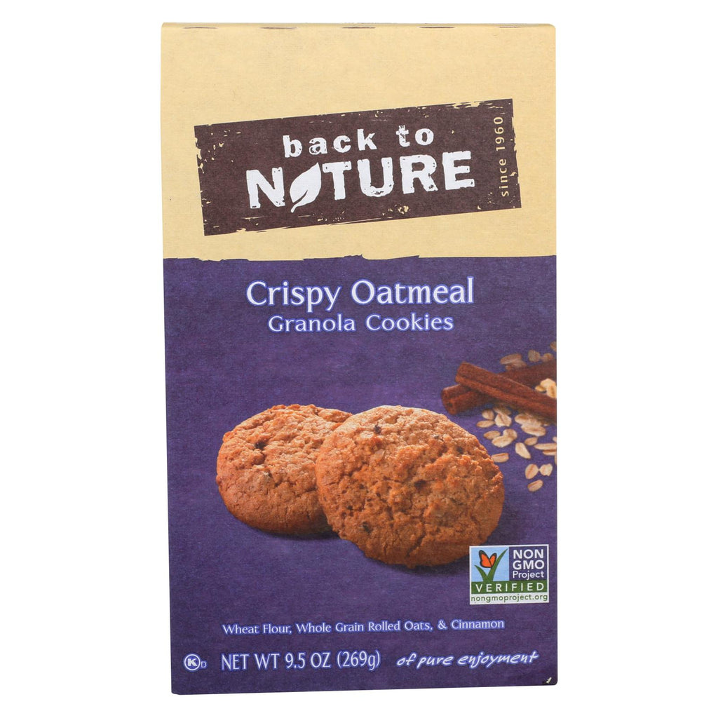 Back To Nature Granola Cookies - Crispy Oatmeal - Case Of 6 - 9.5 Oz.