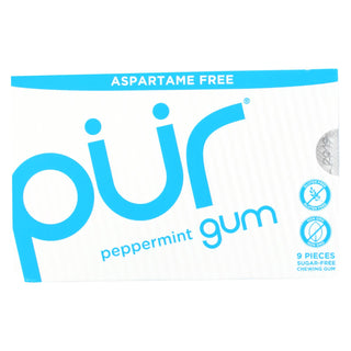 Pur Gum - Peppermint - Aspartame Free - 9 Pieces - 12.6 G - Case Of 12