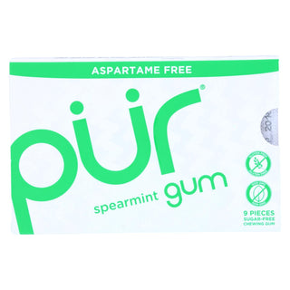 Pur Gum - Spearmint - Aspartame Free - 9 Pieces - 12.6 G - Case Of 12