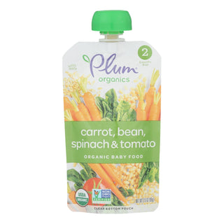 Plum Organics Second Blends Hearty Veggie Meal - Roasted Carrot Spinach And Beans - Case Of 6 - 3.5 Oz.
