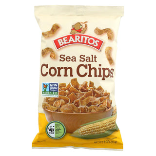 Bearitos Corn Chip - Sea Salt - Case Of 12 - 9 Oz